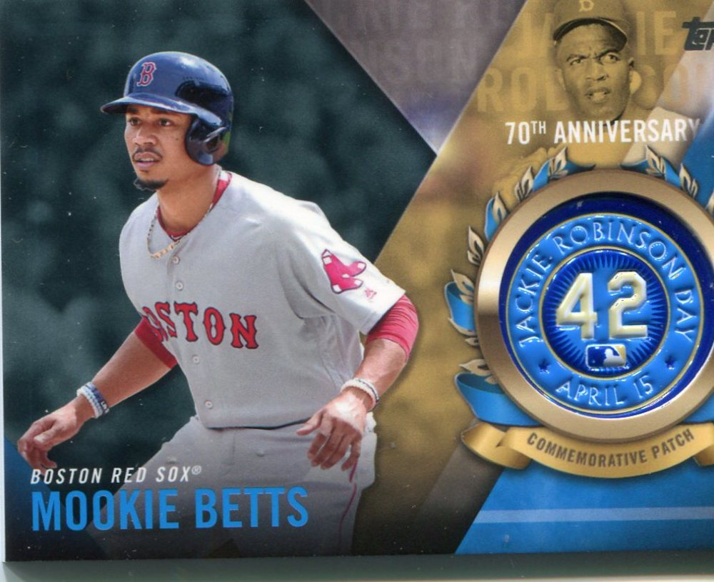 2017 Topps Jackie Robinson Logo Patches #JRPCMBE Mookie Betts