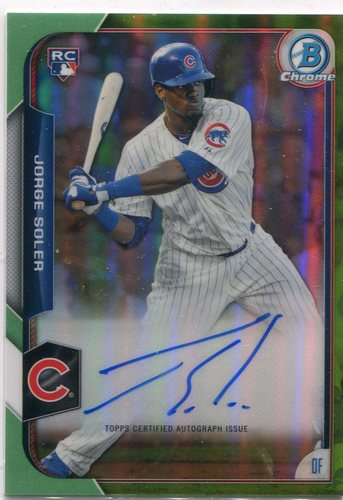Photo of 2015 Bowman Chrome Rookie Autographs Green Refractors Jorge Soler/Facing right 05/99