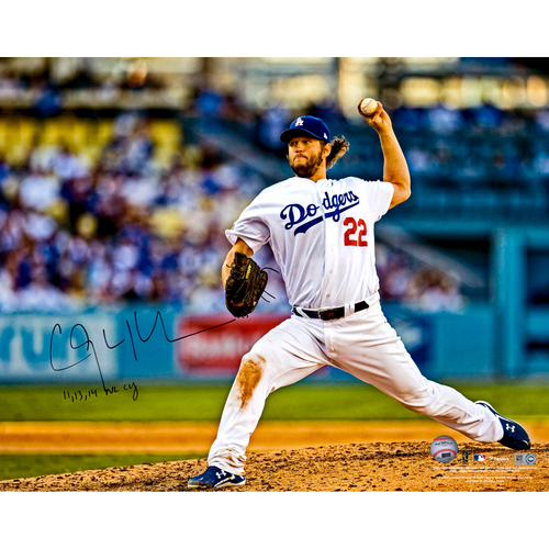 """Photo of Clayton Kershaw Los Angeles Dodgers Autographed 16"""" x 20"""" Ball Above Head Photograph with 11, 13, 14 NL Cy Inscription"""