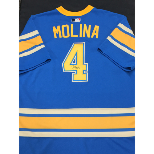 74321e848 Yadier Molina Autographed Team-Issued 2017 St. Louis Blues Themed Cardinals  Jersey