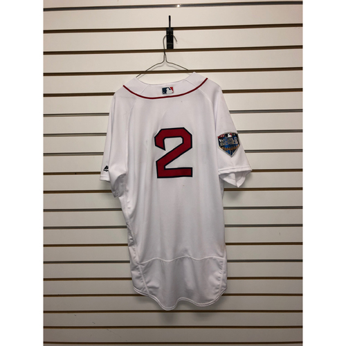 Photo of Xander Bogaerts Game-Used October 23, 2018 World Series Game 1 Home Jersey