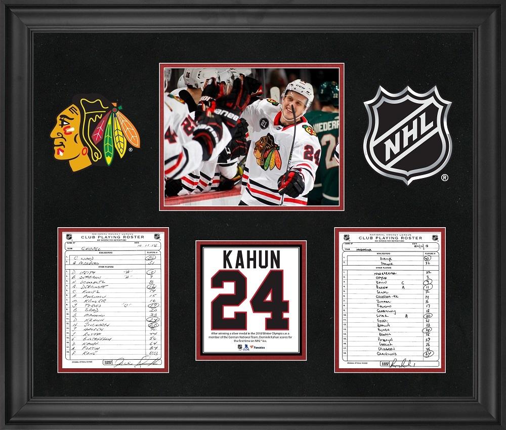 Chicago Blackhawks Framed Original Line-Up Cards from October 11, 2018 vs. Minnesota Wild - Dominik Kahun First NHL Goal