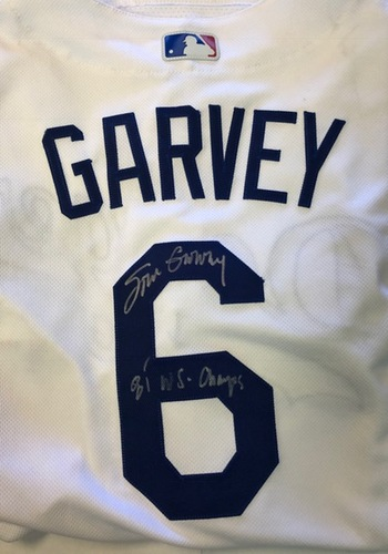 "Photo of Steve Garvey Autographed ""81 WS Champs"" Los Angeles Dodgers Authentic Jersey"