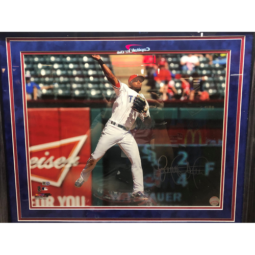 Photo of Elvis Andrus Throwing - Autographed 16x20 Photo