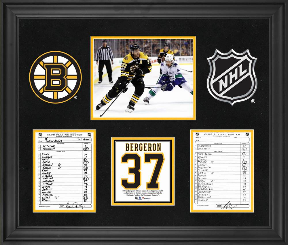 Boston Bruins Framed Original Line-Up Cards from October 19, 2017 vs. Vancouver Canucks - Patrice Bergeron Four Point Game