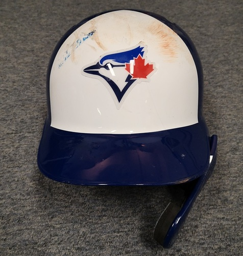 Photo of Authenticated Game Used Helmet - #11 Bo Bichette (Aug 8, 19 vs NYY: Set MLB Record for Consecutive Games with a Double (9). Sept 13, 19 vs NYY: Became Youngest Blue Jay ever with Wal-Off HR). Size 7 3/8. Rookie Season