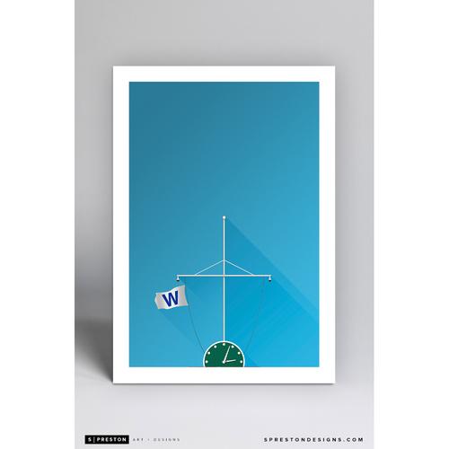Photo of Wrigley Field Win Flag - Minimalist Ballpark Art Print by S. Preston  - Chicago Cubs