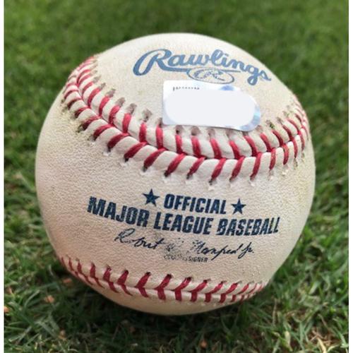 Photo of Final Season Game-Used Baseball - Ehire Adrianza Single/Jason Castro Double - 8/18/19