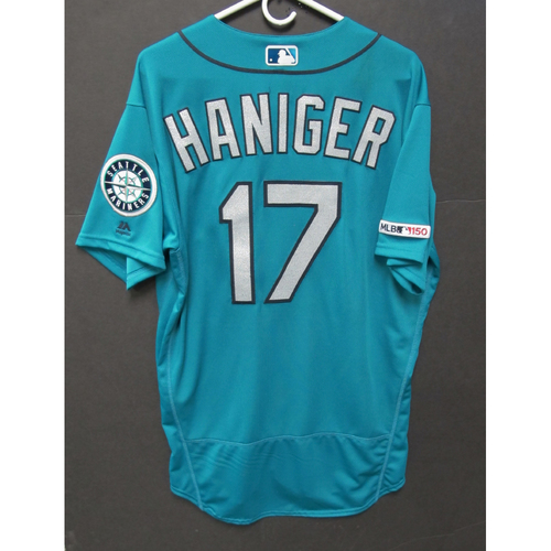 Photo of Mitch Haniger Game-Used Green Jersey - 5-31-2019 - Size 46