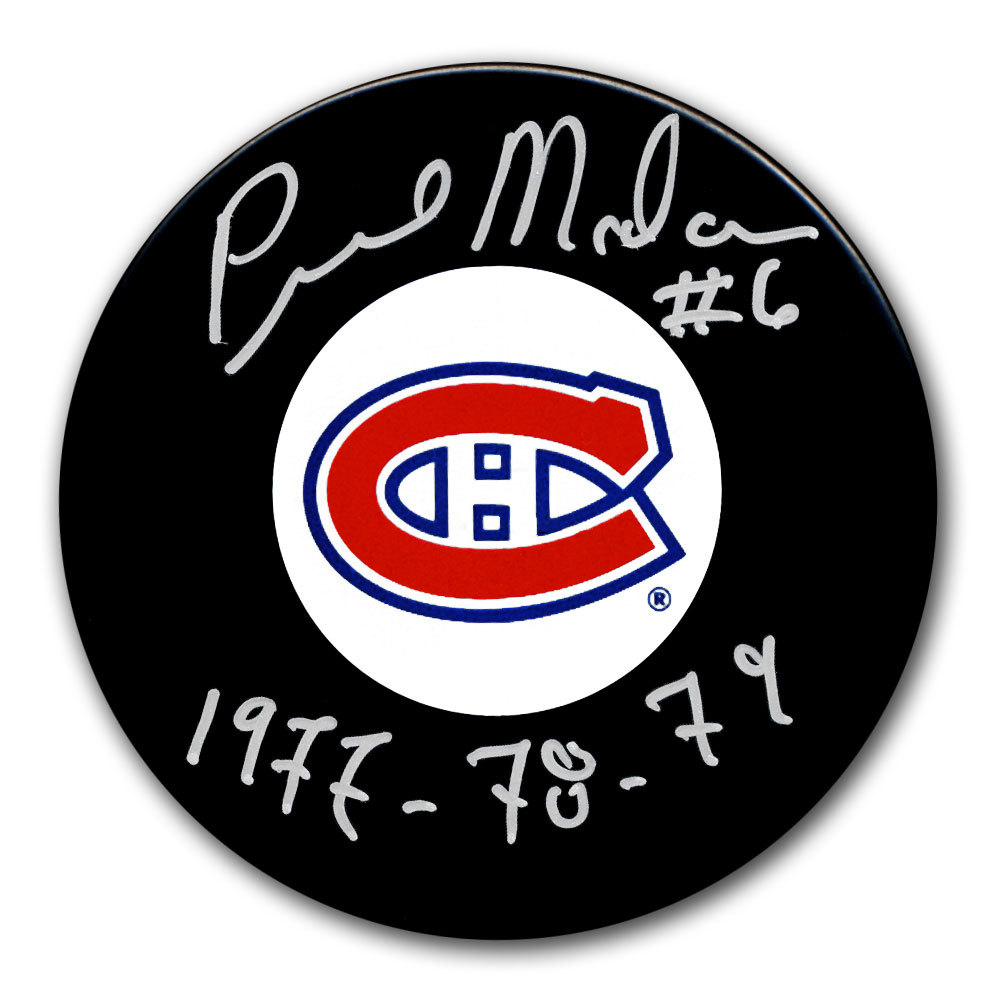 Pierre Mondou Montreal Canadiens SC Years Autographed Puck