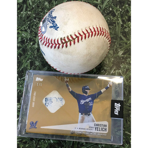 Photo of Game-Used Baseball CHC@MIL 07/27/19 - Jon Lester - Christian Yelich: Single (Includes Christian Yelich Topps Relic Card Commemorating 1st Career Cycle [08/29/18] - Limited Edition # 1 / 1)