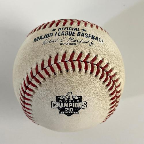 Photo of Game-Used 20th Anniversary of World Series Baseball - Stuart Fairchild HBP vs. Sean Doolittle - Mariners @ D-backs 9/3/2021