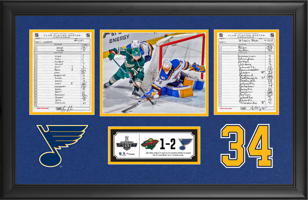 St. Louis Blues Framed Original Line-Up Cards From April 12, 2017 vs. Minnesota Wild - Jake Allen Makes 51 Saves In Overtime Win