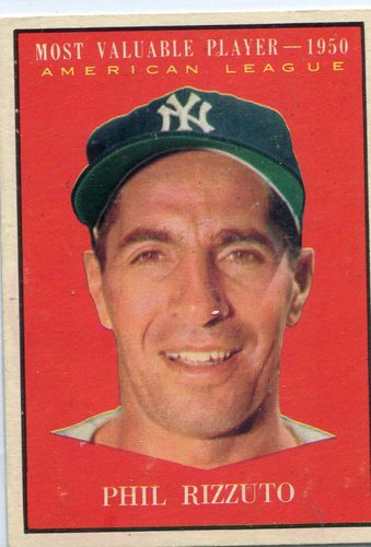 Photo of 1961 Topps #471 Phil Rizzuto MVP -- Hall of Fame Class of 1994