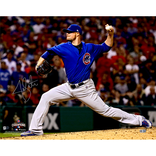 """Photo of Jon Lester Chicago Cubs 2016 MLB World Series Champions Autographed 16"""" x 20"""" World Series Pitching Photograph"""