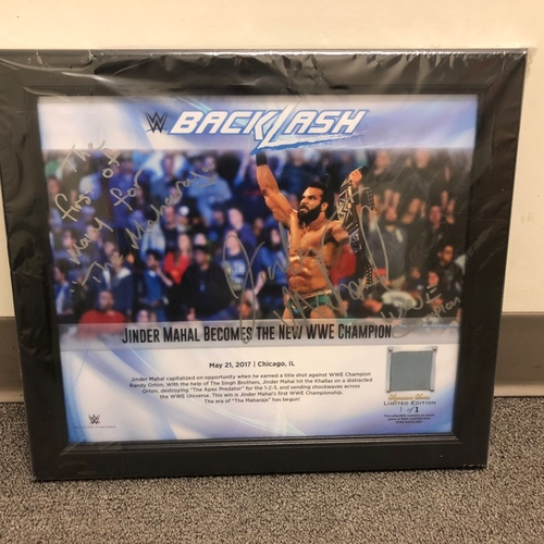 Photo of Jinder Mahal SIGNED BackLash 2017 Signature Series Ring Canvas Plaque (#1 of 1)