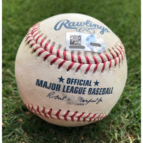 Photo of Game-Used Baseball - Astros at Rangers: Minor vs. Gattis, Single to Mazara - 7/4/2018