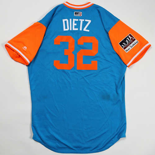 "Photo of Derek ""Dietz"" Dietrich Miami Marlins Game-Used Jersey 2018 Players' Weekend Jersey"