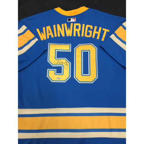 Photo of Adam Wainwright Autographed Team-Issued 2017 St. Louis Themed Cardinals Jersey