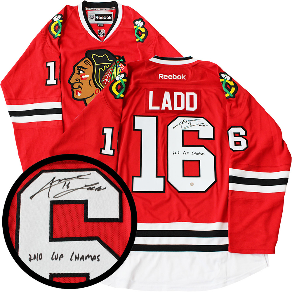 Andrew Ladd Signed Jersey Blackhawks Replica Red