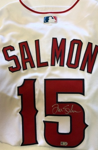 Photo of Tim Salmon Autographed Authentic Los Angeles Angels Jersey