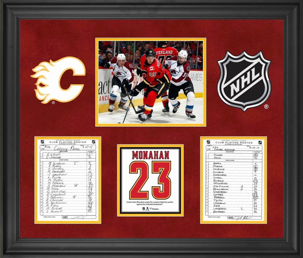 Calgary Flames Framed Original Line-Up Cards from March 27, 2017 vs. Colorado Avalanche - Sean Monahan Four Point Game