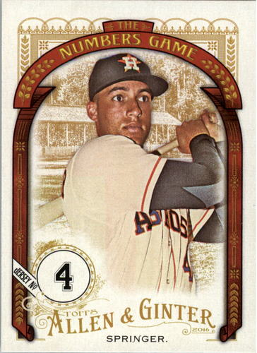 Photo of 2016 Topps Allen and Ginter The Numbers Game #NG20 George Springer