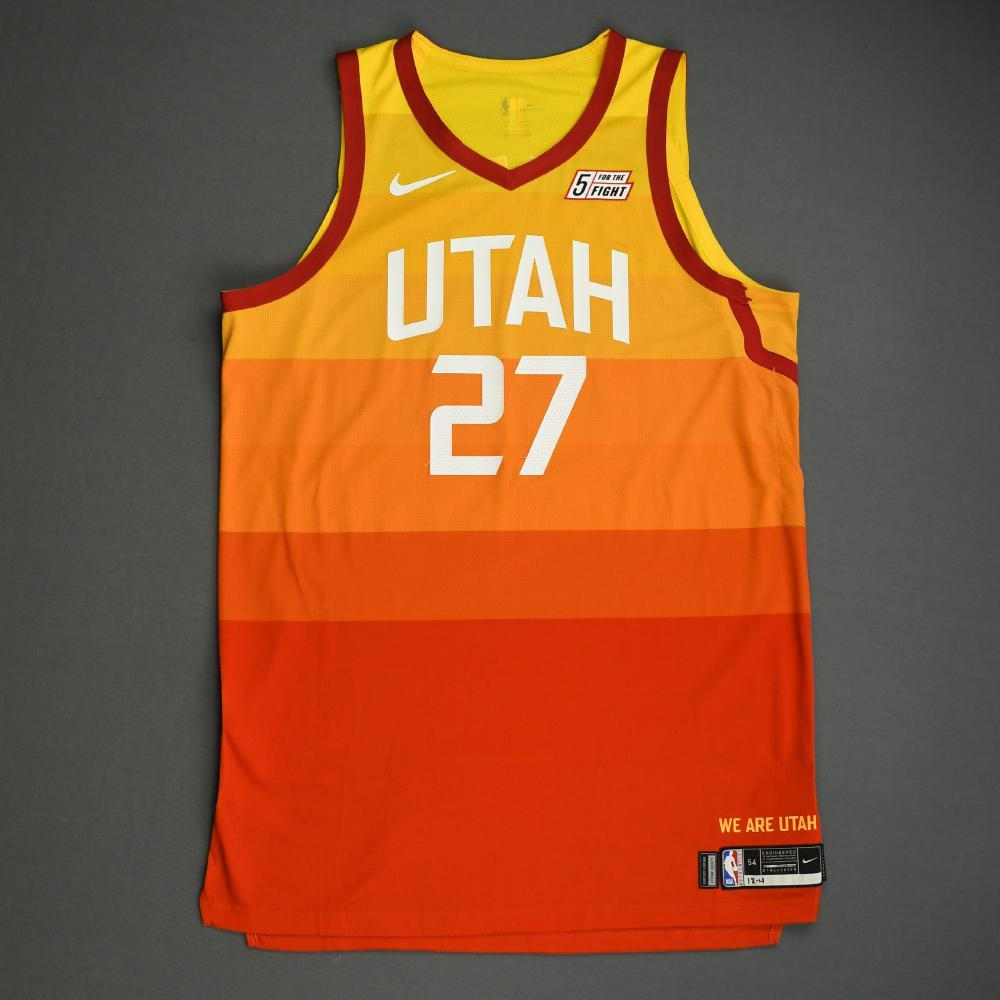 Rudy Gobert - Utah Jazz - Game-Worn City Edition Jersey - Double-Double - 2019-20 Season