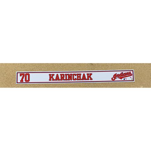 Photo of James Karinchak 2020 Spring Training Game-Used Locker Name Plate