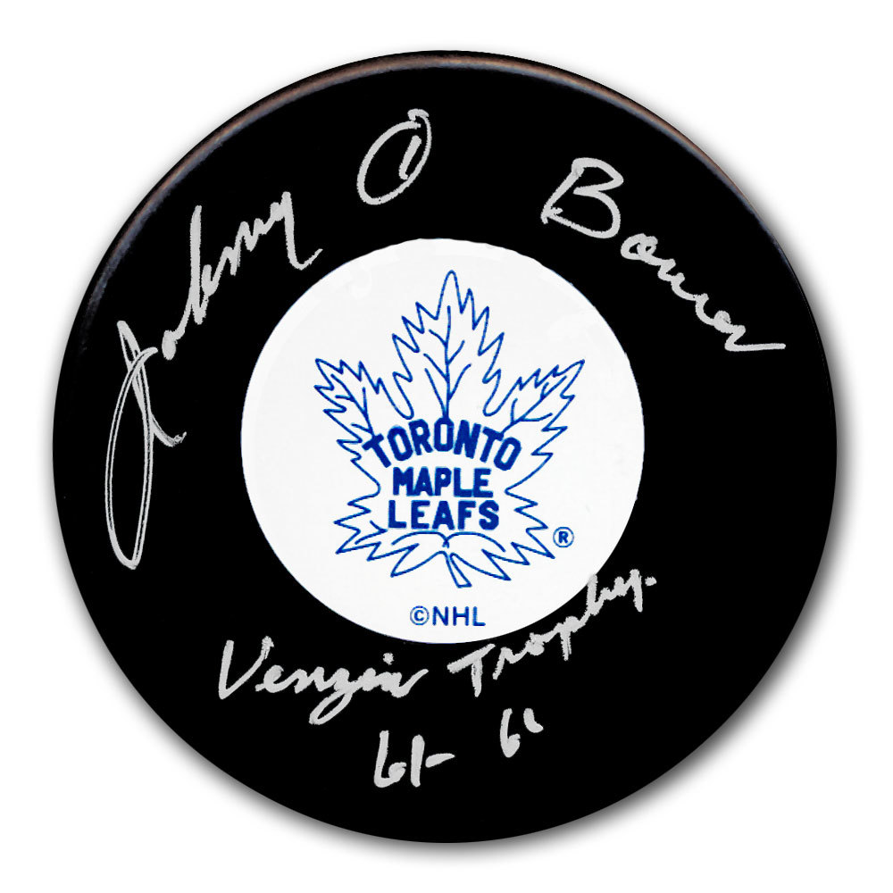 Johnny Bower Toronto Maple Leafs Vezina Trophy Autographed Puck