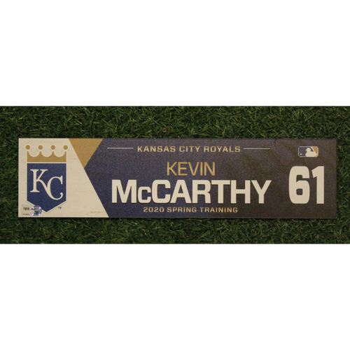 Photo of Game-Used Spring Training Locker Tag: Kevin McCarthy #61