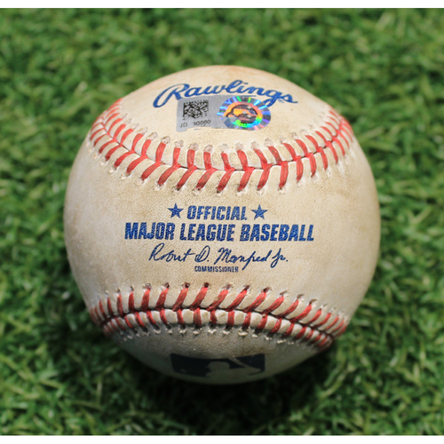 Photo of Game-Used Baseball: Eddie Rosario 709th Career Hit & 369th Career RBI (MIN @ KC 8/23/20)