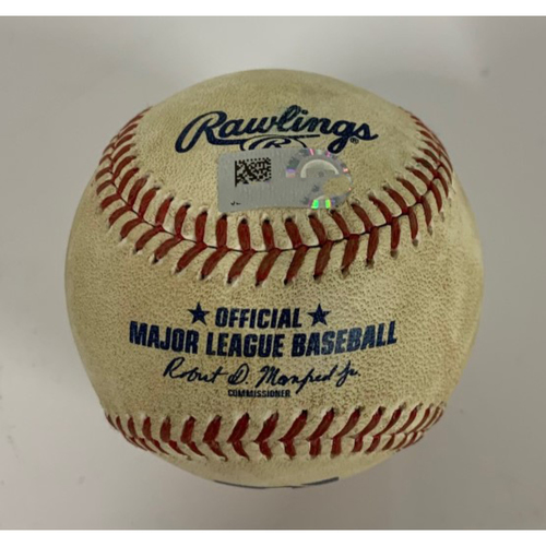 Photo of Game Used Baseball- 8/22/2020 - Triston McKenzie Strikes Out Isaac Paredes.