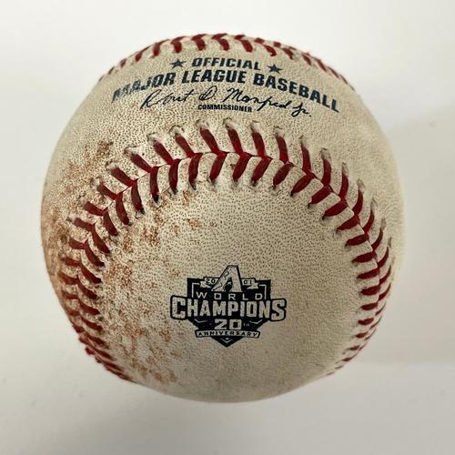 Photo of Game-Used 20th Anniversary of World Series Baseball - Abraham Toro-Hernandez Double vs. Tyler Gilbert - Mariners @ D-backs 9/5/2021