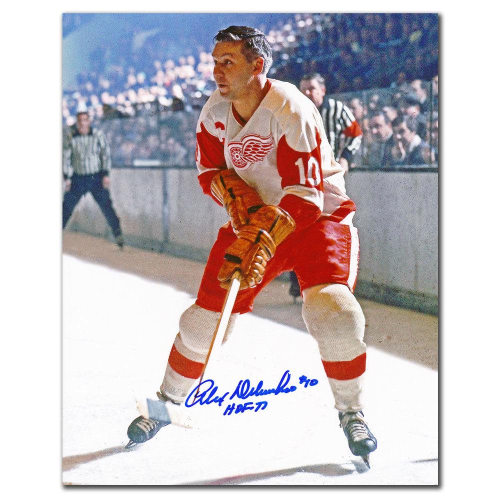 Alex Delvecchio Detroit Red Wings ACTION Autographed 8x10