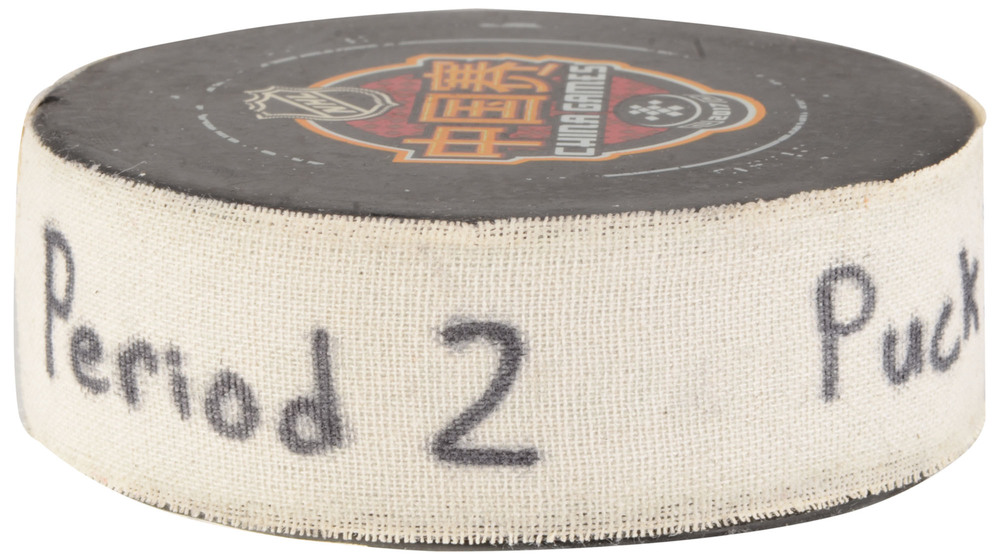 2017 NHL China Games Los Angeles Kings vs. Vancouver Canucks Game-Used Hockey Puck - Used During Second Period on September 21, 2017 in Shanghai, China