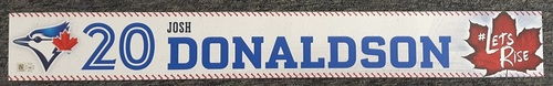 Photo of Authenticated Game Used Locker Name Plate - #20 Josh Donaldson (2 feet by 3 inches)