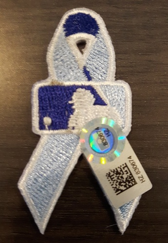 Photo of Authenticated Father's Day Ribbon Patch - #65 Jesus Figueroa (June 21, 2015). Approximately 2 inches in length by 1 inch in width.