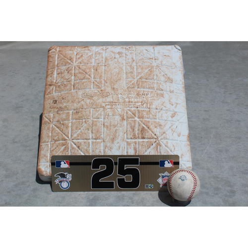 Photo of Game Used Base, Baseball and Team-Issued Locker Nameplate: Gleyber Torres 24th Career Hit (NYY at KC - 5/18/18)