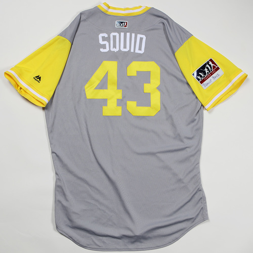 "Photo of Steven ""Squid"" Brault Pittsburgh Pirates Game-Used Jersey 2018 Players' Weekend Jersey"