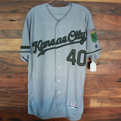 Photo of Game-Used Memorial Day Jersey: Kelvin Herrera (Size 46 - KC @ TEX - 5/27/18)