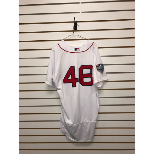 Photo of Craig Kimbrel Game-Used October 23, 2018 World Series Game 1 Home Jersey