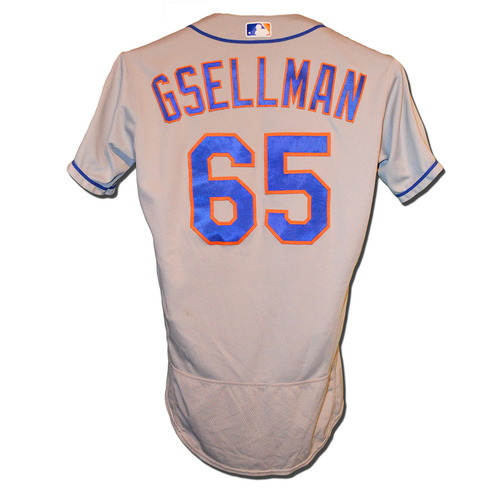 Robert Gsellman #65 - Game Used Road Grey Jersey - Mets vs. Nationals - 9/20/18
