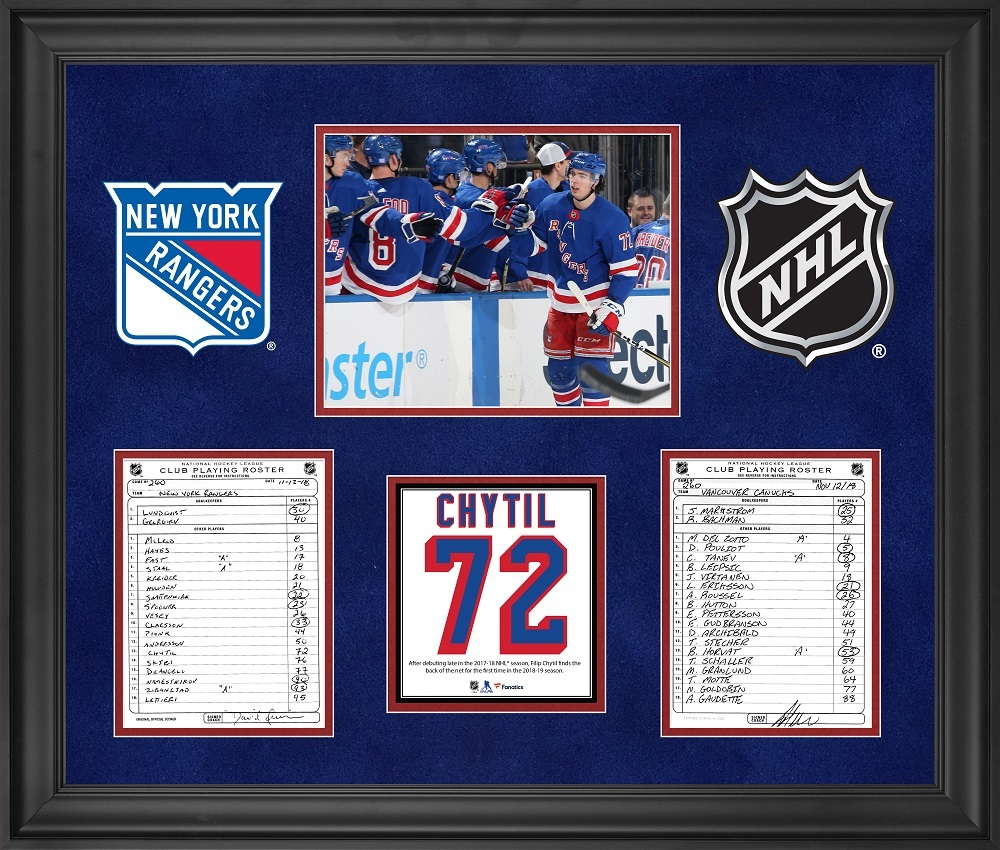 New York Rangers Framed Original Line-Up Cards from November 12, 2018 vs. Vancouver Canucks - Filip Chytil First Goal of the 2018-2019 NHL Season