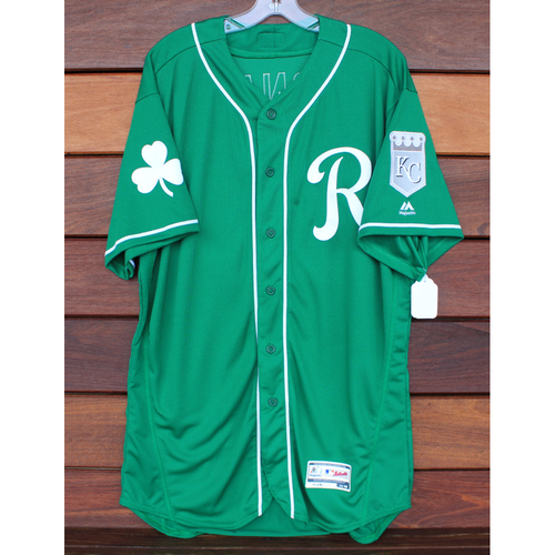 Photo of Team-Issued St. Patrick's Day Jersey: Dennis Leonard (Size - 48)