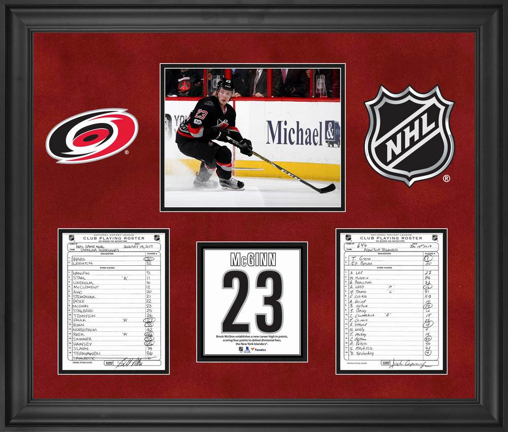 Carolina Hurricanes Framed Original Line-Up Cards from January 14, 2017 vs. New York Islanders - Brock McGinn Four Point Game