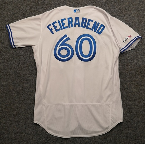 Photo of Authenticated Game Used Jersey: #60 Ryan Feierabend (May 20, 19 vs BOS). Size 48