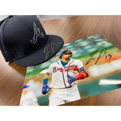 Photo of Ronald Acuña Jr MLB Authenticated Autographed Photo And Hat (Size 7 3/8), Combo