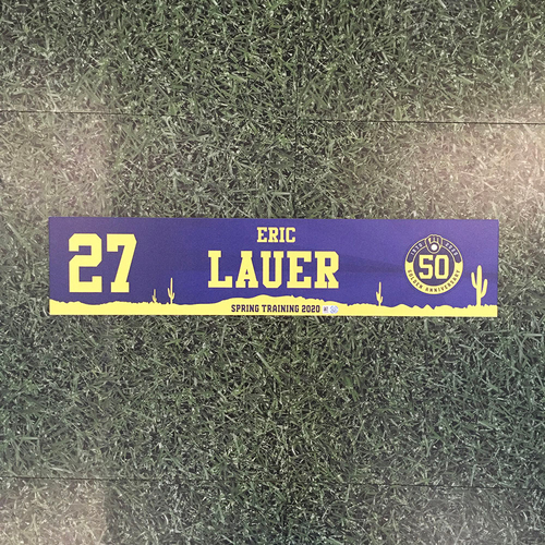 Photo of Eric Lauer 2020 Team-Issued Spring Training Locker Nameplate