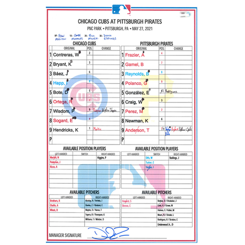 Photo of Game-Used Lineup Card -- Hendricks 5th Win (7 IP, 3 ER, 5 K) -- Bryant 11th HR; Wisdom 1st HR -- Cubs at Pirates -- 5/27/21